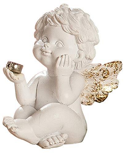dekojohnson - Schutz-Engel Figur Herz Antik Weiss Gold Grabschmuck Grabdeko liebevolle Grab-Engel Skulptur - 5,5cm Gross -