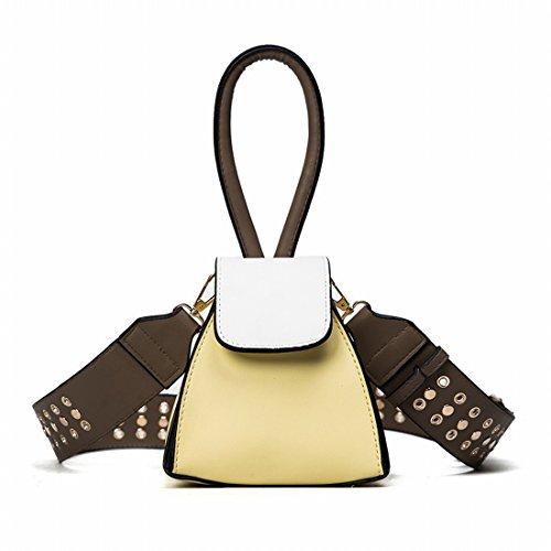 Weibliche Schultergurt Nieten Laterne Tasche Mode Schulter Messenger Tasche Gelb
