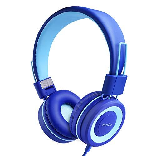 Kinder Kopfhörer, Ifecco Faltbare Kopfhörer mit LED Katzen Ohren Verkabelte Over Ear Headset Kopfhörer für iPod iPad iPhone Android Handy Tablet PC MP3 MP4 Playe (Blau)