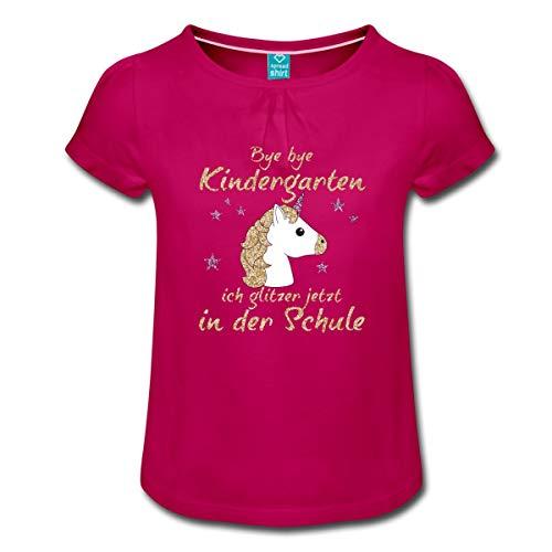Spreadshirt Bye Bye Kindergarten Ich Glitzer In Der Schule Mädchen T-Shirt mit Raffungen, 6 Jahre, Fuchsia - Mädchen Glitzer T-shirt