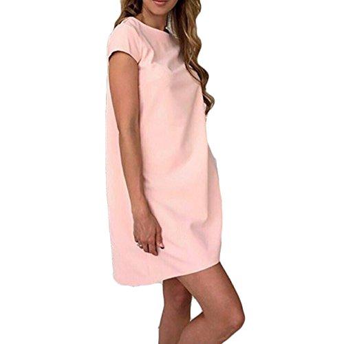 Damen Rundkragen kurzarm young fashion Kleid aus Minikleid Freizeitkleid Partykleid Freizeitkleider Pink