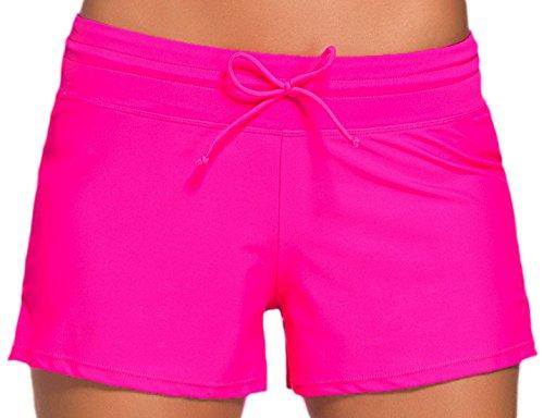 Vian Lundgaard - Damen Frauen Casual Badeshorts, Pink, Größe L (Bein Nadelstreifen Weites Hose)