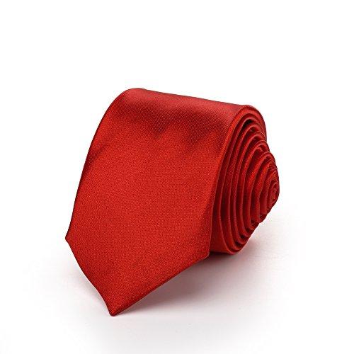 Rusty Bob Krawatte schmal/dünn 3cm-5cm für Herren [auch für Kinder/Jungen] (uni,nicht gestreift) aus Polyester glänzt wie Seide (Rot-Fuchsia)