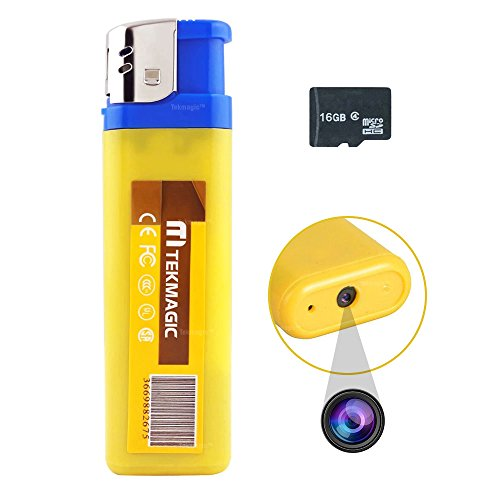 TEKMAGIC 16GB Mini Spion Kamera Feuerzeug Sound Aktiviert Videoaufnahme mit Foto Funktion