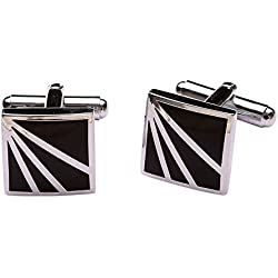 Tripin Square Silver And Black Brass Cufflinks For Men In A Gift Box