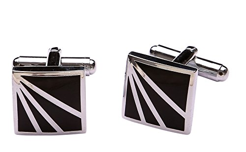 Tripin Square Silver And Black Brass Cufflinks For Men In A Gift...