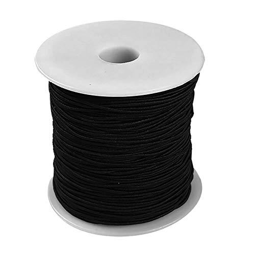 Qiao Nai Hilo Cuerda Elástico Blanco y Negro de Redondo cordón elástico de Cuerda de Secuencia de Estiramiento para DIY Collar Pulsera Abalorios Fabricación de Joyas 100 m/Rollos (Negro)