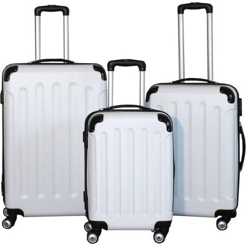 BERWIN Kofferset 3-teilig Reisekoffer Trolley Hartschalenkoffer ABS Teleskopgriff (Weiß)