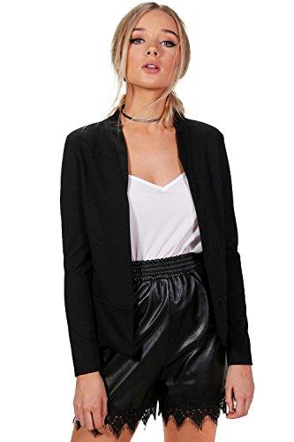 Femmes Noir Brooke Blazer Sans Col En Maille Point De Rome Noir