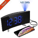 (Neuste Version)Projektionswecker, PICTEK Wecker, Radiowecker/Digital Wecker/Großes Display/Dimmer/Dual-Alarm/4 Alarmtöne, Snooze/Timer, 12/24-Stunden, USB-Anschluss, 120° Projektor, 180°Flip-Anzeige