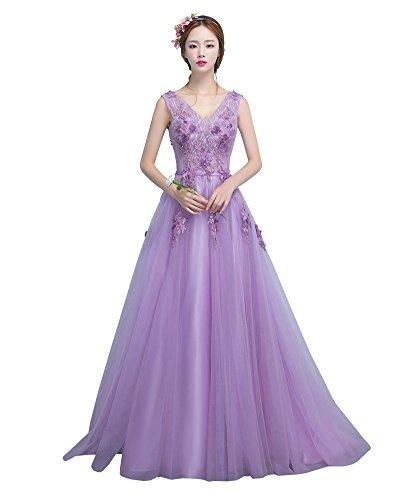 Erosebridal Lange Abendkleid 2017 V Ausschnitt Partykleid Lila