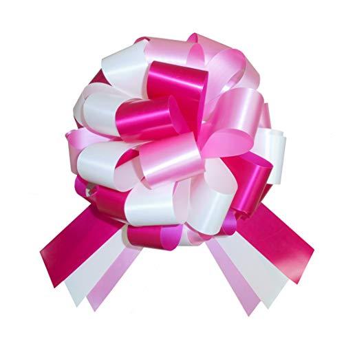 Jaffa Imports Große Geschenkschleife (25,4 cm) + 6 Meter rosa Band für Autos, Fahrräder, Kinderwagen, Babypartys, Geburtstags, Pink/cremefarben/Kirschrot