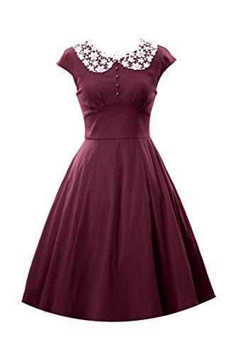 iLover Audrey Hepburn cocktail soirée de bal vintage 1950 robe de style Rockabilly Swing WineRed