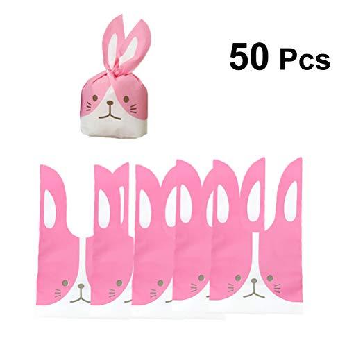 Toyvian 50 stücke Bunny Candy Taschen Ostern Cookie Treat Taschen Kaninchen Ohr Verpackung Bag Kekse Bäckerei Kuchen Geschenk Taschen Rosa Kleine (Ostern Behandeln Taschen)
