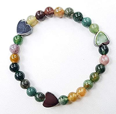 Bracelet agate Indienne, perles naturelles de 6mm