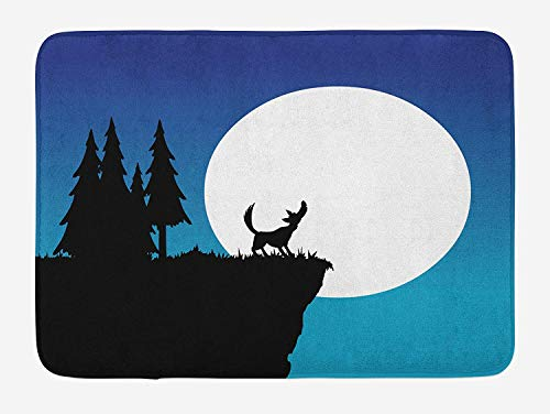 PdGAmats Crying Wolf Bath Mat, Old School Cartoon Style Wolf on The Hill in The Night with Full Moon, 23.6 W X 15.7 W Inches