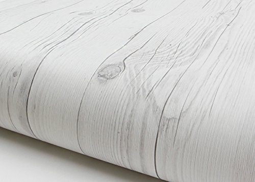 Peel & Stick Backsplash Vintage White Wood Panel Pattern Self-adhesive Removable Wallpaper 22344 : 1.64 Feet X 9.84 Feet by Wood Pattern Backsplash (Peel Und Stick Holz Wallpaper)