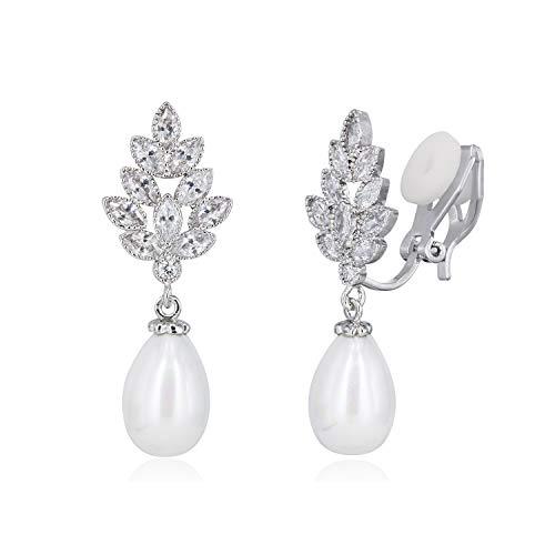 Quke Frauen Blattform Zirkonia Kristall Künstliche Perle Ohrhänger Ohrclips Nicht Durchbohrten Ohrring Für Damen