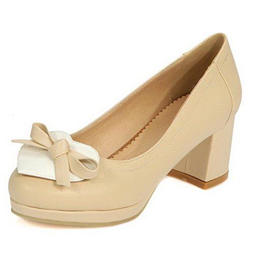 AllhqFashion Damen Ziehen Auf Rund Zehe Mittler Absatz Gemischte Farbe Pumps Schuhe Cremefarben