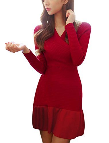 Femme Traverser Col V Manches Longues Joint Fin Pull Tricot Robe Rouge