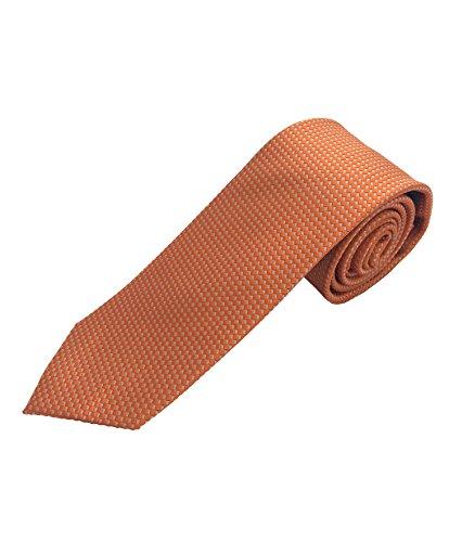 Pietro Baldini 100% Seiden Krawatte für Herren - Elegante handgefertigte Seidenkrawatte aus gewebter Seide - Business oder Hochzeitskrawatte (Orange)