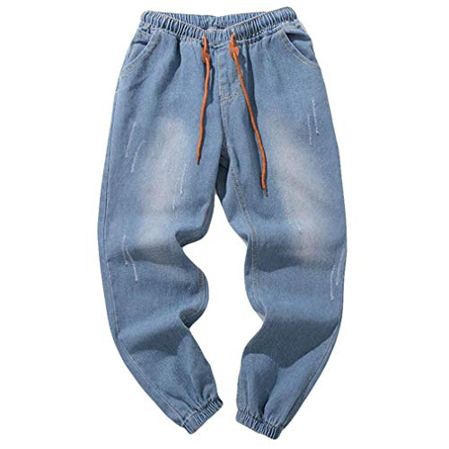 TEBAISE Herren Jeans Hose Denim Stretch Regular Fit Jeanshose Stonewashed Jogginghose Sweathose Jeansoptik Bund und Saum mit Gummizug(Hell blau,M)