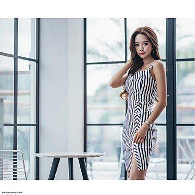 PU&PU Robe Aux femmes Gaine Simple,Rayé Col en V Au dessus du genou Coton / Polyester WHITE-L