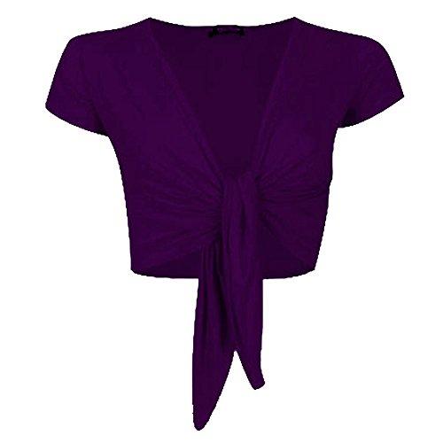 Janisramone donne signore tappo manica cravatta davanti ritagliata Bolero coprispalle Cardigan Porpora