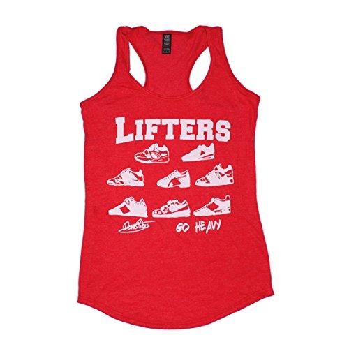 GO HEAVY Mujer Tri-Blend Tank Top - Lifters - Rojo - L