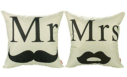 Luxbon 2X Bart Mr Lippen Mrs Dauerhaft Leinen Kissenbezug mit Reißverschluss Sofa Hochzeit Valentinstag Dekokissen 45x45 cm