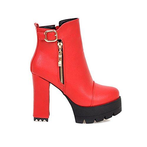 VogueZone009 Donna Cerniera Tacco Alto Puro Bassa Altezza Stivali con  Metallo Rosso ... 13ad3920f3d