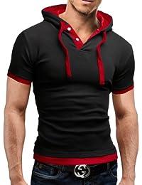 MERISH Kurzarm Hoodie T-Shirt Herren Slim Fit Modell 09