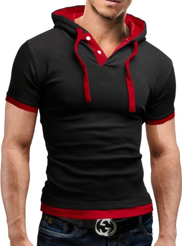 Merish Poloshirt Hemd Herren Slimfit Polo Hoodie 9 Farben 09 Schwarz/Rot