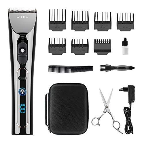 Haarschneidemaschine Profi, WONER Haarschneider Haarscherer Maschine Langhaarschneider Haarrasierer Set Haartrimmer für Herren Männer mit LED Anzeige, Turbo-Funktion