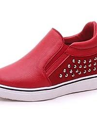 ZQ Zapatos de mujer-Tacón Cuña-Cuñas-Mocasines-Exterior / Casual-Semicuero-Negro / Rojo , red-us8 / eu39 / uk6...