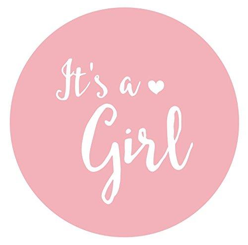 It's a girl Sticker - 36 wunderschöne runde Aufkleber, rosa, matt, für Mädchen, Ø 4,5cm - Für Einladungen und Dankeskarten, zur Geburt, Taufe, Baby-Shower