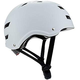 BMX Helmet Skateboard Helmet Skate and Cycling Helmet or Rollerblade for Men and Women - Design: White Line - Size: M