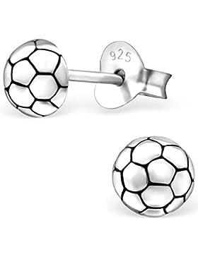 JAYARE Kinder-Ohrstecker Fussball 925 Sterling Silber oxidiert 5 x 5 mm Ohrringe