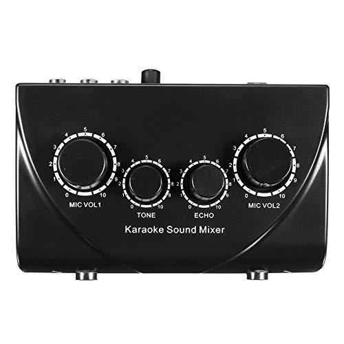 LaDicha Professionelle Mini Karaoke Audio Mixer Dual Mic Inputs Mit Kabel Für Stage Home Ktv - Das Schwarz