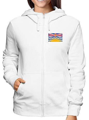 Sweatshirt Damen Hoodie Zip Weiss TM0170 British Columbia Flag
