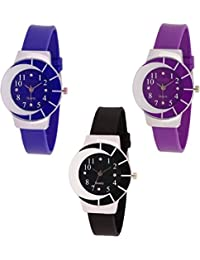 Maan International Combo3 Zibra0012 Black & Blue & Purple Analogue Women & Girls Watch
