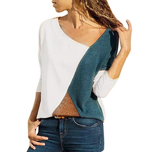 MRULIC Damen Kurzarm T-Shirt Rundhals Ausschnitt Lose Hemd Pullover Sweatshirt Oberteil Tops (EU-46/CN-3XL, A-Weiß)
