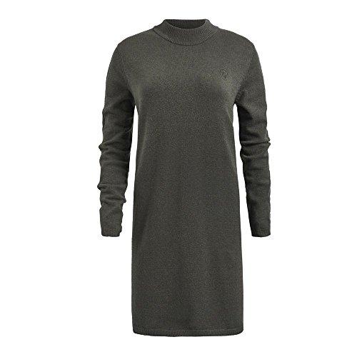 Khujo hippes Pulloverkleid oliv melange Glattstrick Stehbund Velia, Größe:M