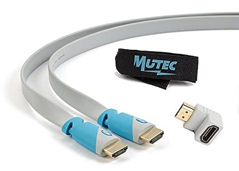 MutecPower 3 meter High Speed Flaches HDMI Kabel mit Ethernet - 1.4a- unterstützt Full HD 3D & Audio Return Channel-[Die Späteste HDMI Version Verfügbar] 3M mit HDMI-Adapter und Kabelbinder im Pack
