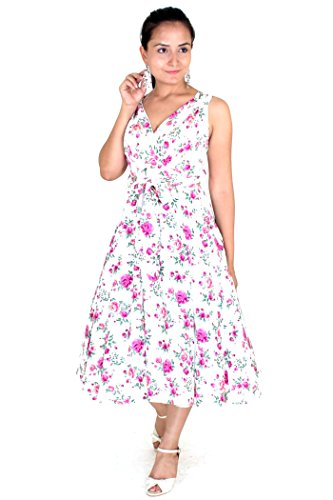 cktail Kleid, Geblümt mehrfarbig Magenta-White Gr. 36, Magenta-White (Damen 60s Fancy Dress)