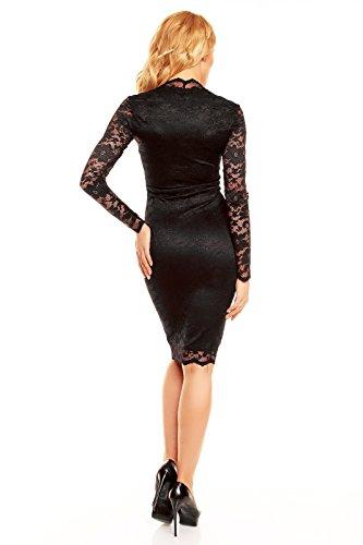 Robe de soirée en dentelle crayon robe robe de soirée en dentelle pour un look business deluxe Noir - Noir