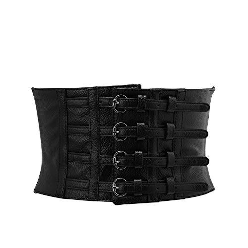LXCDD Ladys einstellbare schlanke Kunstleder Cummerbunds Körper Taille Form Korsett Breiten elastischen Gürtel Stretch Bund