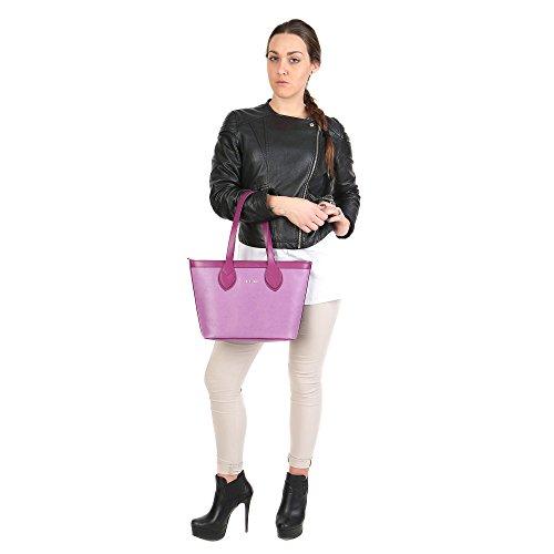 Trussardi Frau Kleine Handtasche mit großen Griffen in Saffiano, echtes Kalbsleder 38x27x12 Cm - Mod. 76B100M Lila