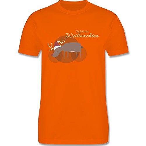 Weihnachten & Silvester - Schöne Weihnachten Elch Weihnachtsmütze - S - Orange - L190 - Herren T-Shirt Rundhals (Die Gute Nachricht Tannenbaum)