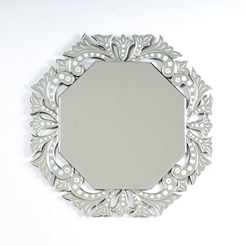 "Quality Glass Glass And MDF Venetian Wall Mirror (26""x26"", Silver And White, Octagon Shaped Mirror)"